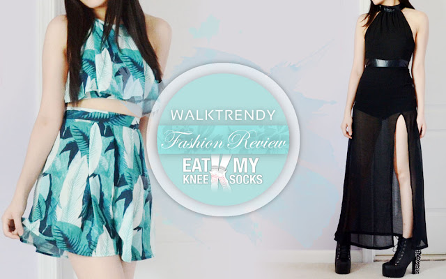 A review of a leaf-print halter crop top and skirt set and sheer leather-trim maxi dress from WalkTrendy, brought to you by Eat My Knee Socks/Mimchikimchi.