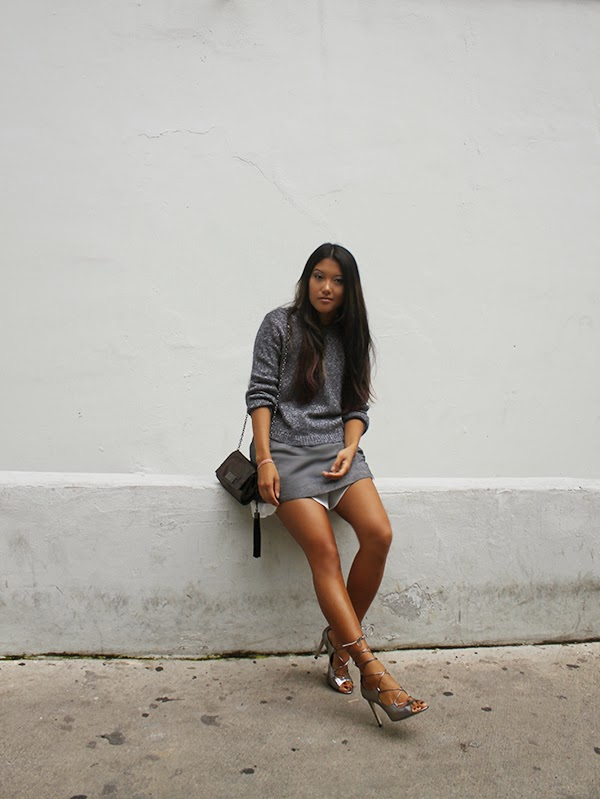 h&m, gray sweater, macys, tunic, white shorts, scalloped shorts, miami fashion blogger, fashion blogger, asian blogger, pandora jewelry, pandora bracelet, aldo shoes, lace up booties, metallic shoes, shoulder bag, style by lynsee, lynsee hee kyeong
