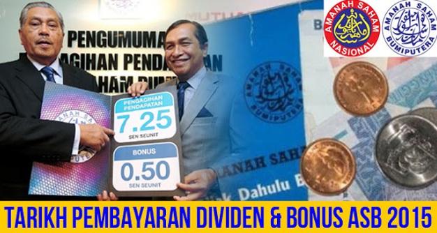 Tarikh Pembayaran Dividen & Bonus ASB 2015