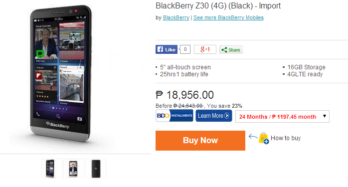 BlackBerry Z30 is now Available via Third Party ...