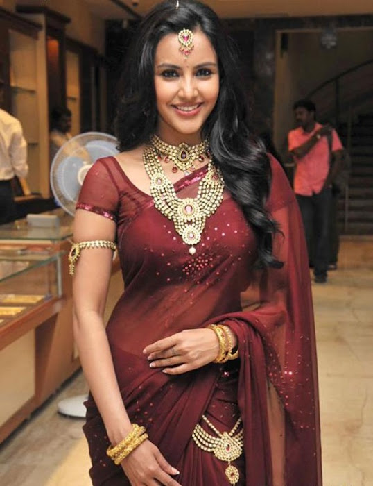 priya anand in saree at nac ewellers for 1000 diamond necklaces festival event- hot images