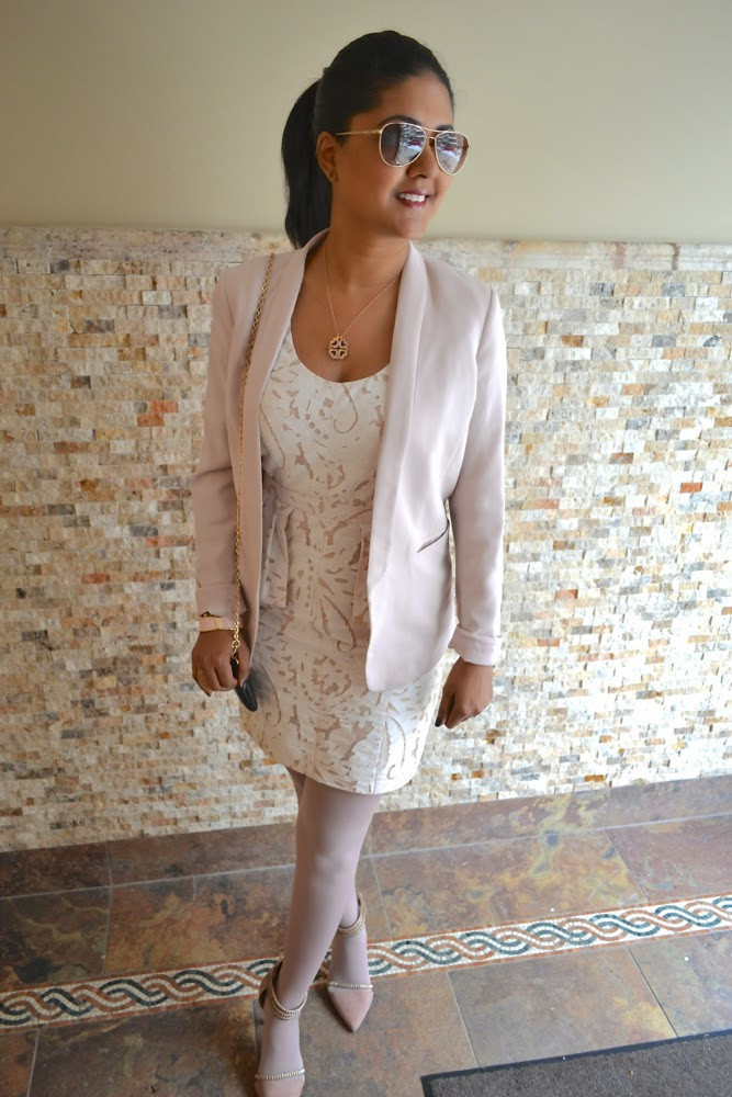 H&M pink blazer light pink outfit pink and white