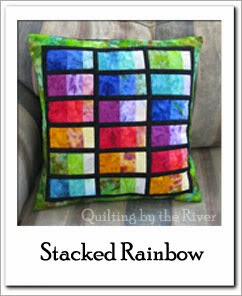 Stacked Rainbow Pillow Free Tutorial at Freemotion by the River