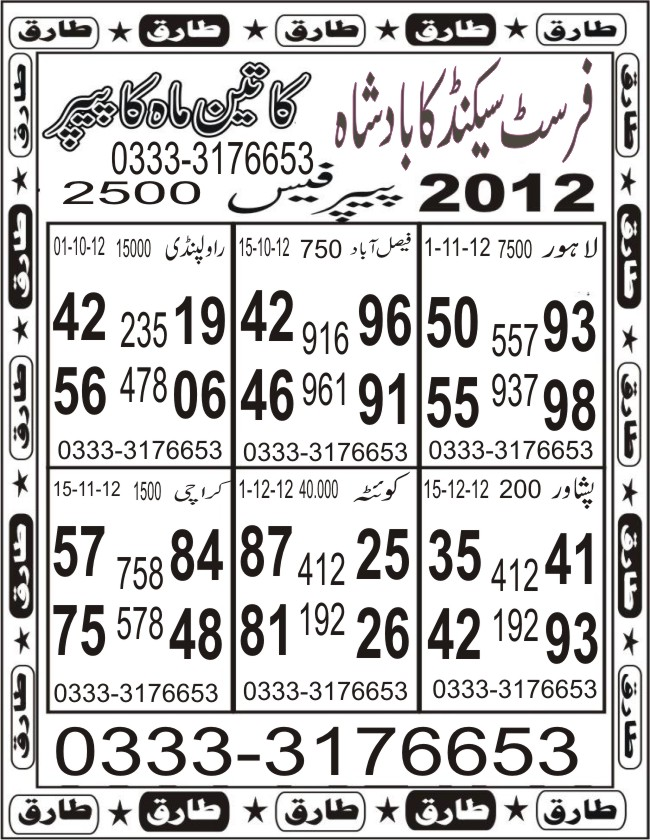 Yarana latest prize bond guess paper bond city multan date 02 09