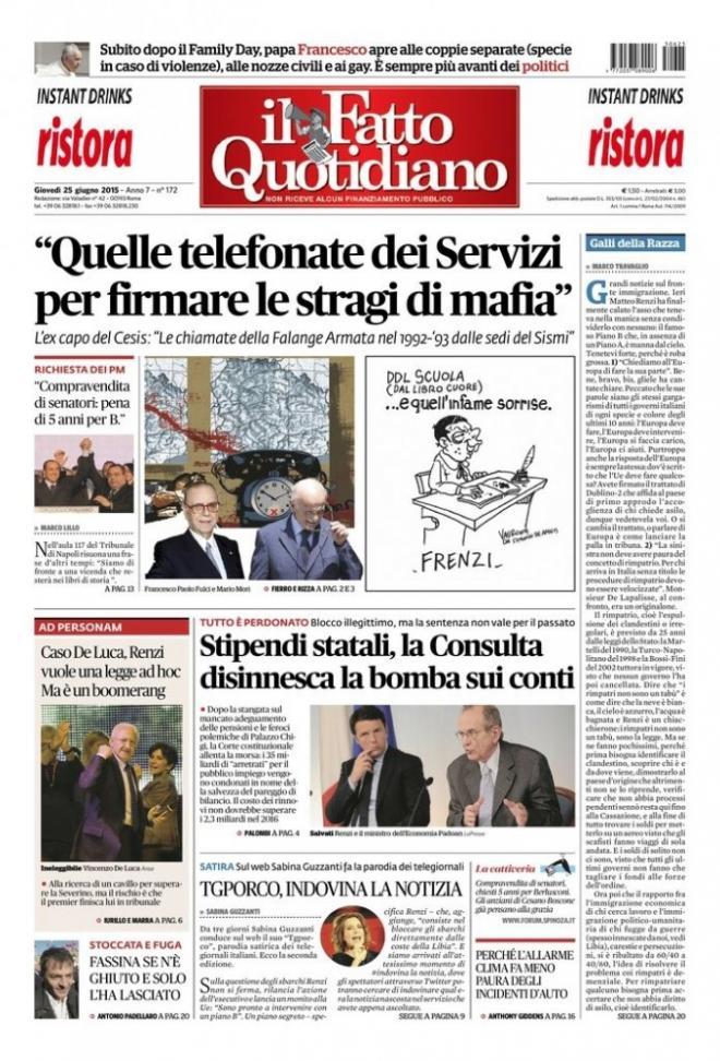 Reportages Quotidiani La Miglior Prima Pagina Di Oggi 25 Giugno