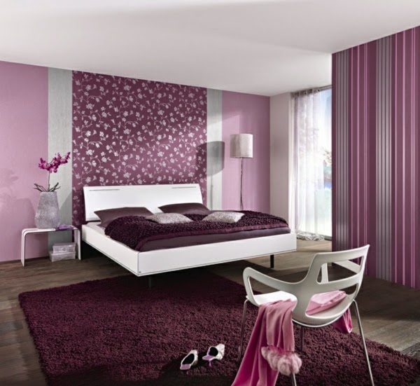 stripped purple bedroom wallpaper ideas for women 39 s bedroom