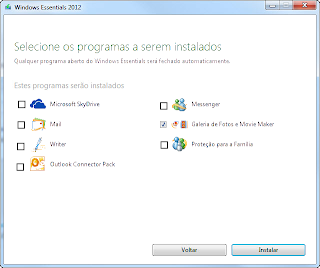 Windows Essentials 2012 - selecção de programas