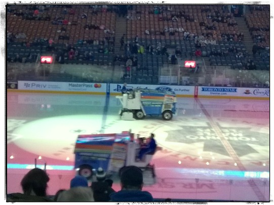 Zambonis on the ice