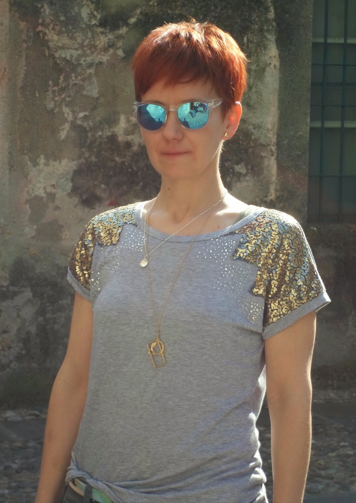 Sequin Shirt, Grey Skinnies, Black Bag, Mirror Sunglasses at Iseo, Lake Iseo   Sparkle and Mirrors - Sequins for Sunday, Funky Jungle, fashion & personal style blog