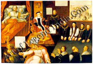 The Tudor triumph, This allegorical painting shows Henry VIII on his deathbed handing over the succession to his son Edward VI. The pope lies crushed and beaten at young Edward's feet, symbolizing the Tudor triumph over Rome.