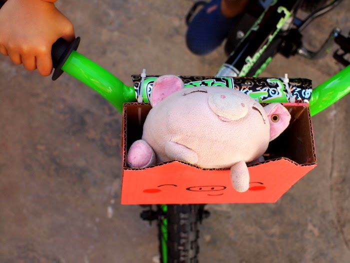 DIY Piggy Bike Basket for Kids from Cardboard