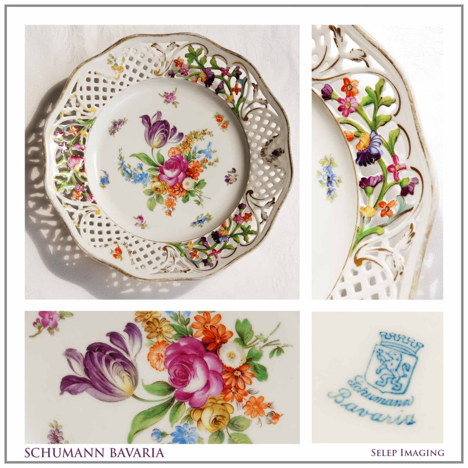 Schumann Bavaria china plate Reticulated porcelain