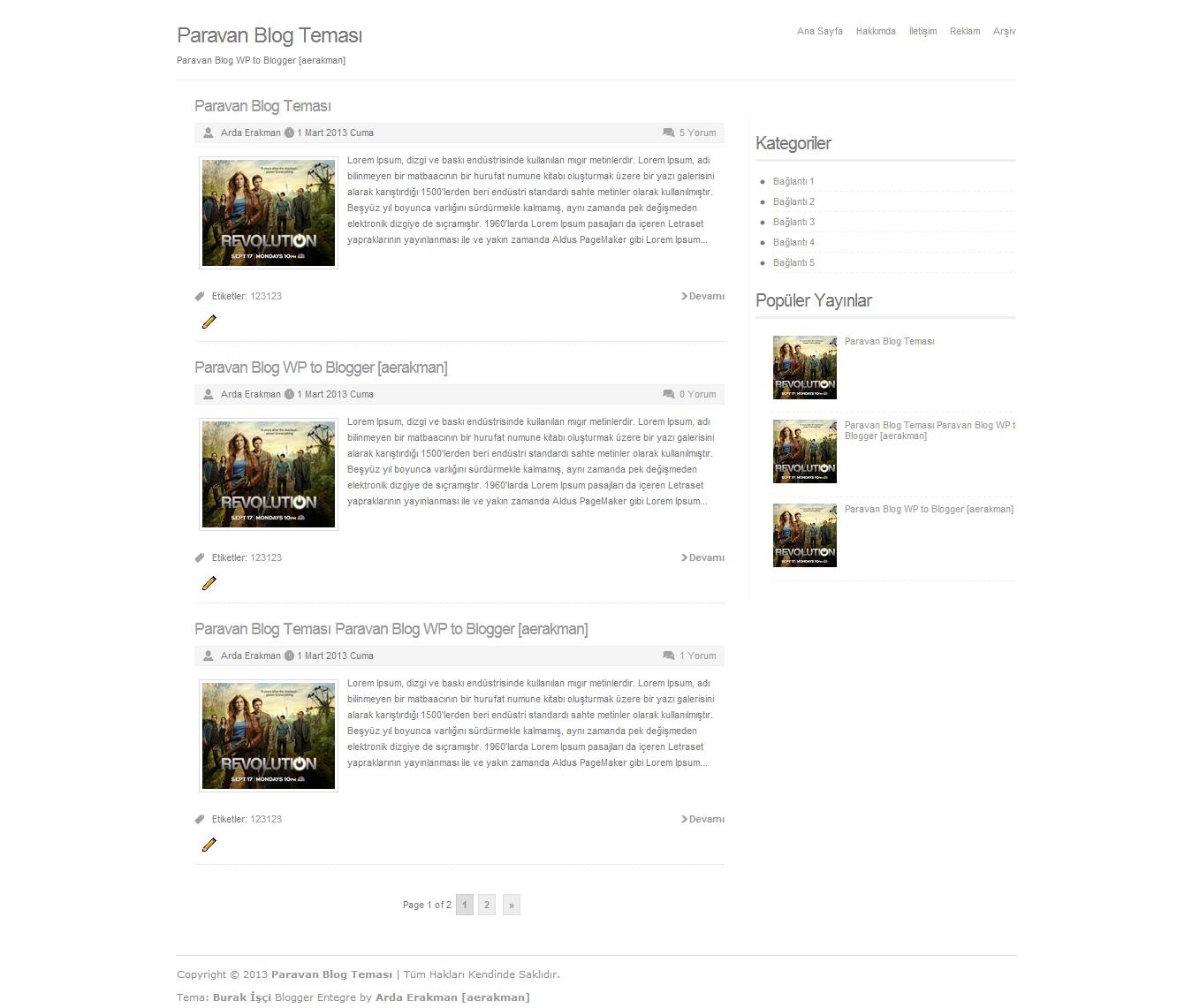Paravan Blog Wordpress Teması