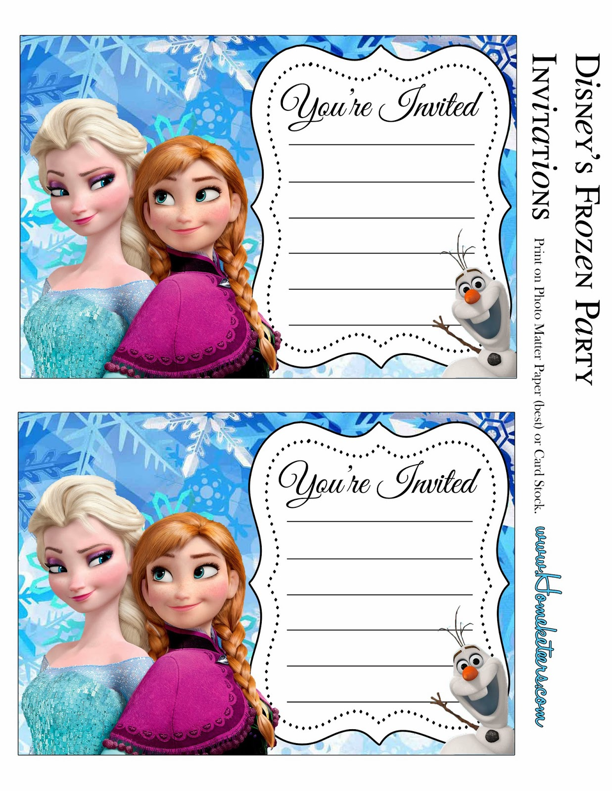Frozen Party Free Printable Invitations – Party Invitations Frozen