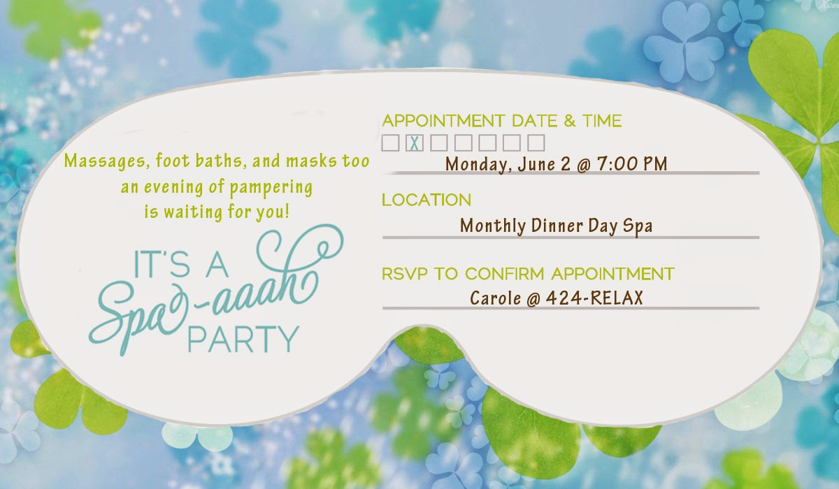 Invite and delight a spa aaah party for Spa mask invitation template