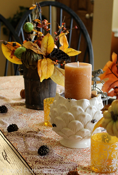 Golden Autumn Tablescape ~ wooden bucket fall arrangement