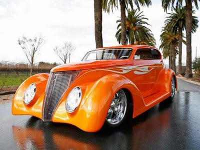 auto clasico tuning naranja