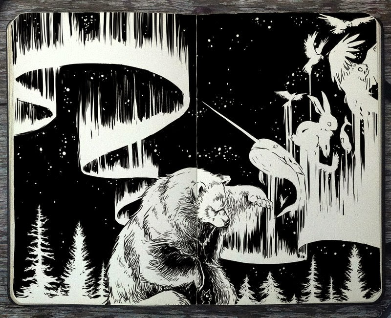 11-Aurora-Borealis-Gabriel-Picolo-365-Days-of-Doodles-end-of-2014-www-designstack-co