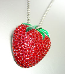"Strawberry Crystal Necklace 18"" chain"