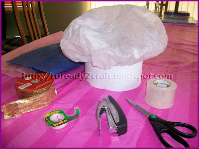 diy tissue paper check baker hat