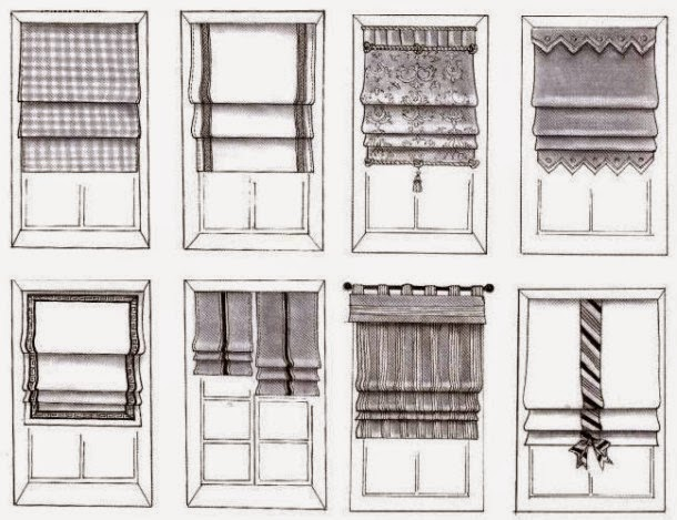 Blinds curtains design roman blinds types and Types of blinds