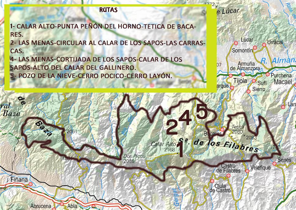 Rutas sobre mapa Filabres