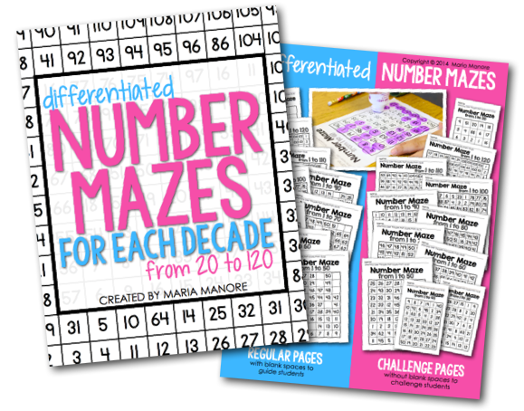 Differentiated Number mazes for numbers up to 120
