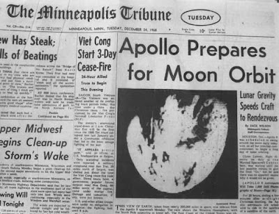 Black and white front page of the Minneapolis Tribune, Dec. 24, 1968, with photo of Earth from near the moon