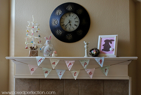 Bunnies and Easter eggs come together in this sweet Easter Mantel.