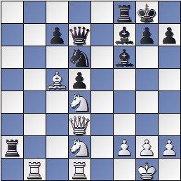 Posición de la partida de ajedrez H. Nusle - Ramón Crusi Moré después de 21... Af7