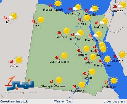 درجات الحرارة في مصر اليوم 27-5-2015