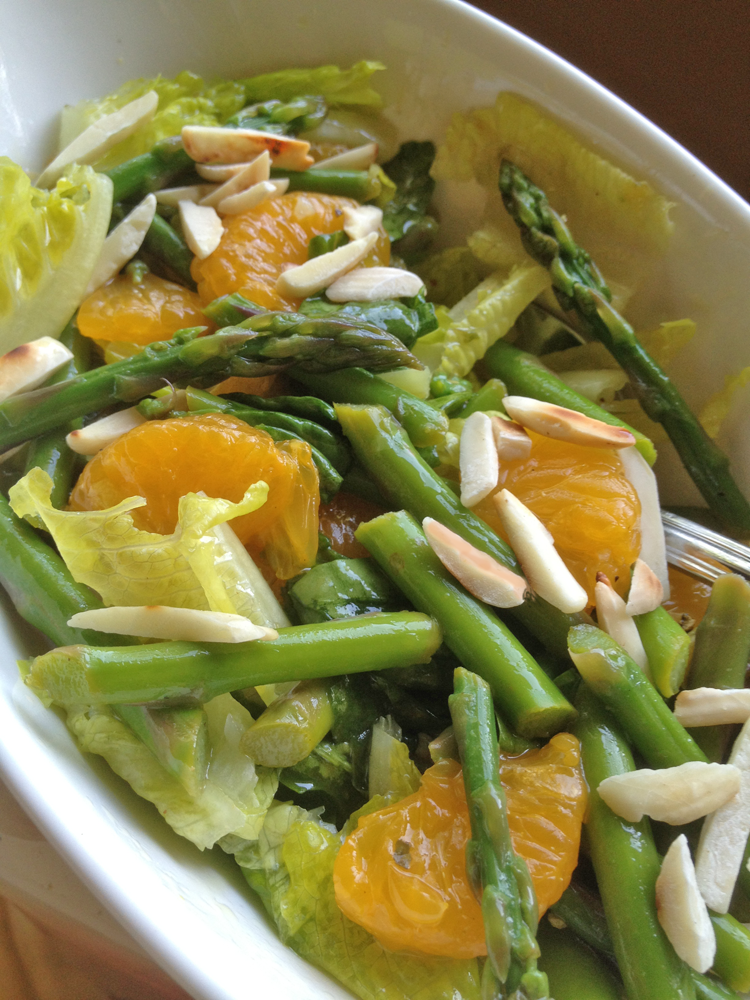 Cloe up image of Asparagus and Mandarin Orange Salad in a serving bowl