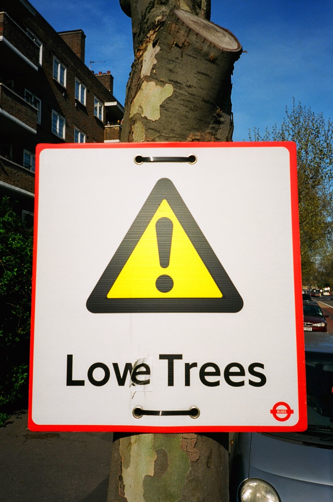 WARNING SIGNS, SUBVERSION, TRANSPORT FOR LONDON, GRAFFITI, LONDON PLAIN TREES, TREE PRUNING, LAMBETH WALK, LAMBETH RAOD, WATERLOO, LONDON © VAC 100 DAYS / 4  MILLION CONVERSATIONS