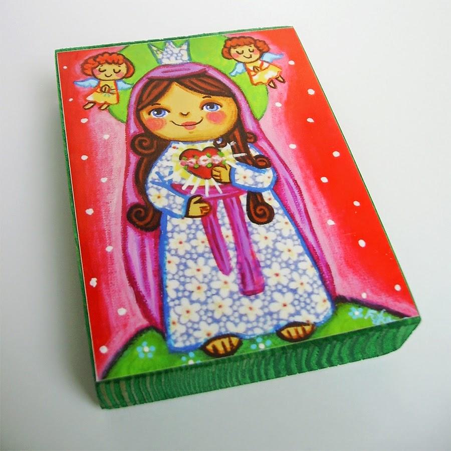 Drewniany obrazek obraz ilustracja święty święta patron święci błogosławiona błogosławiony dla dziewczynki chłopca chłopczyka dziecka prezent upominek na gwiazdkę ozdoba dekoracja bożonarodzeniowa świąteczna Jezus Chrystus Matka Boska Boża Niepokalanego Serca różaniec Maryja dziecko pamiątka chrztu chrzest pierwsza bierzmowanie komunia narodziny urodziny