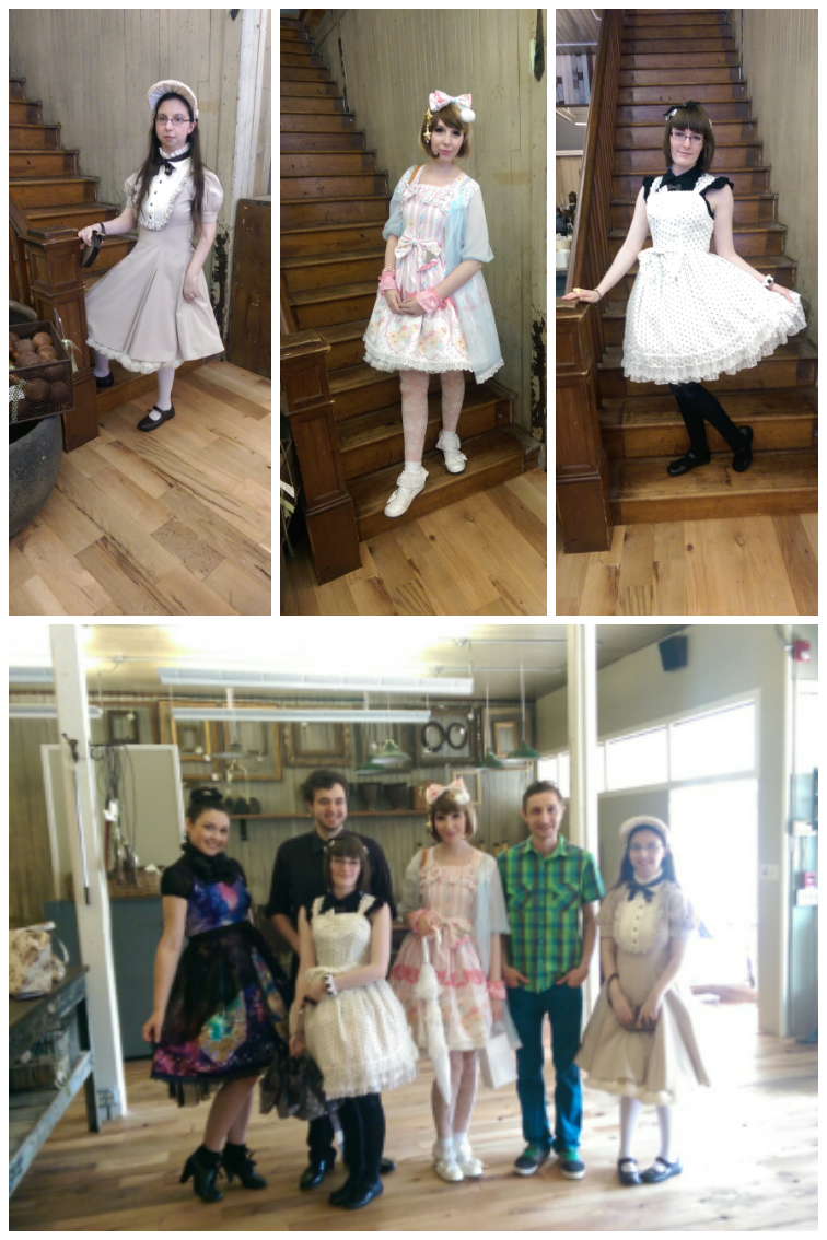 Group shot of some of the Connecticut lolitas in classic lolita and sweet lolita fashion at a Seymour, CT lolita meet!
