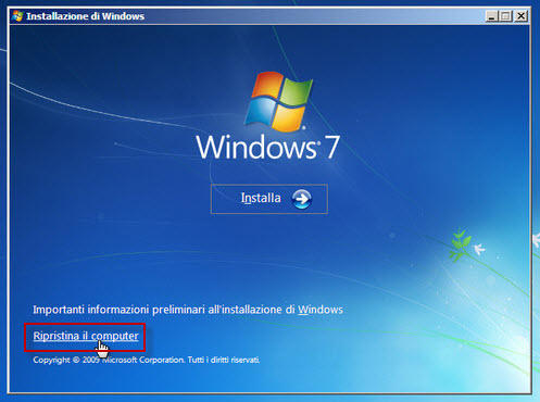 Ripristina il computer - Windows 7