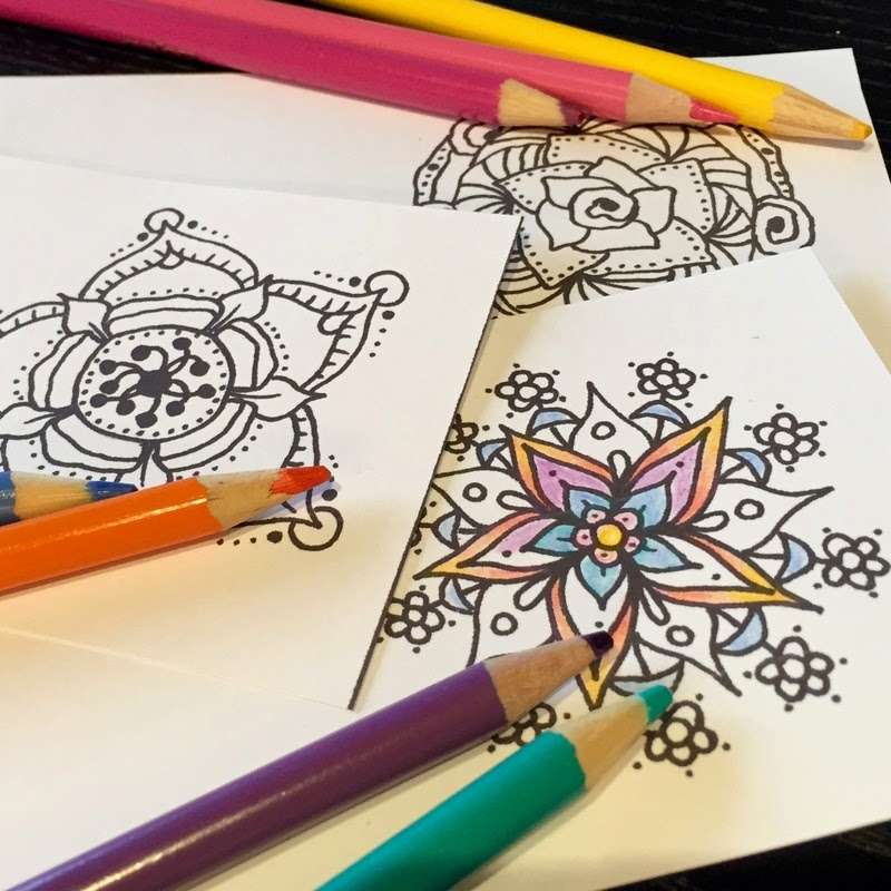 Free Mini Mandala Cards to Color!
