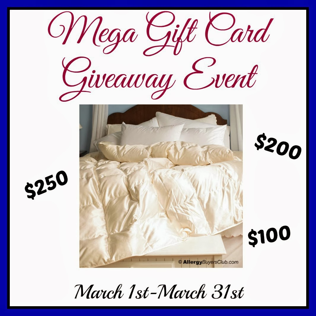 Enter to win the Mega Gift Card Giveaway. Ends 3/31.