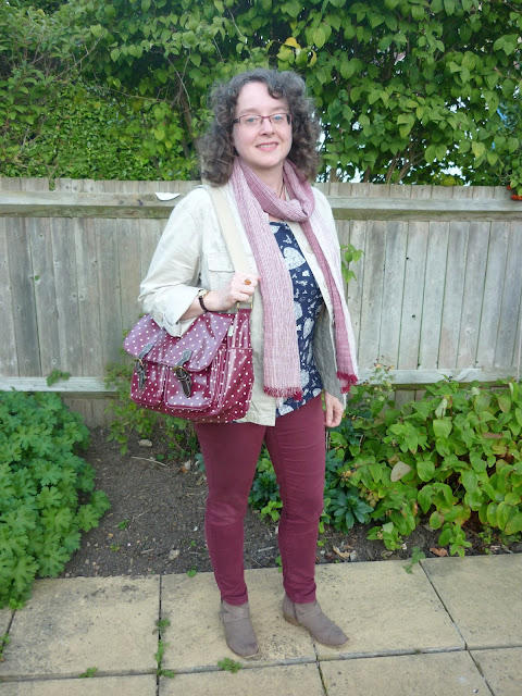 Red Skinny Jeans, Polka dot Satchel & Taupe Boots | Petite Silver Vixen