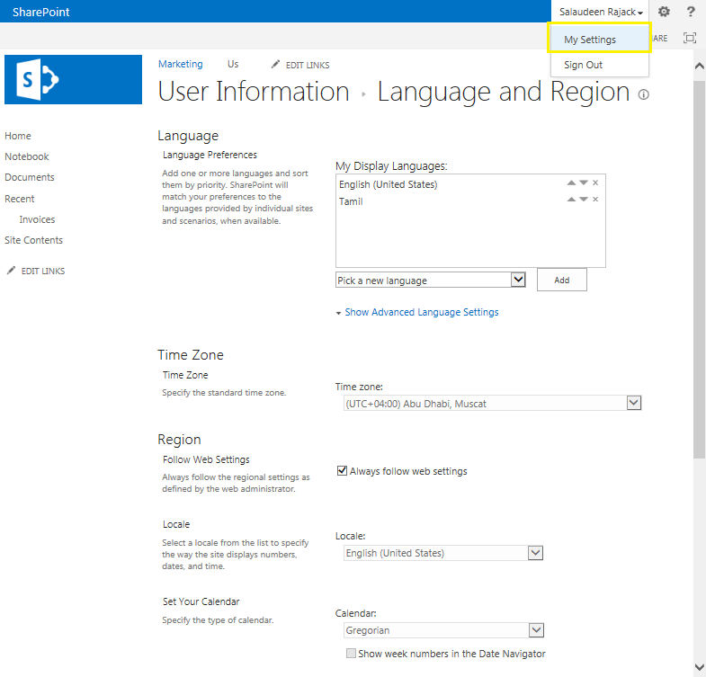 sharepoint 2013 regional settings for user