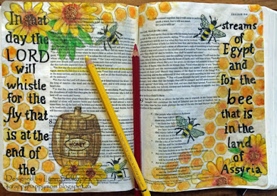 Isaih 7:18 Bible Journal Page by Lynn Shokoples