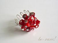 pierścionek wire wrapping czerwone millefiori