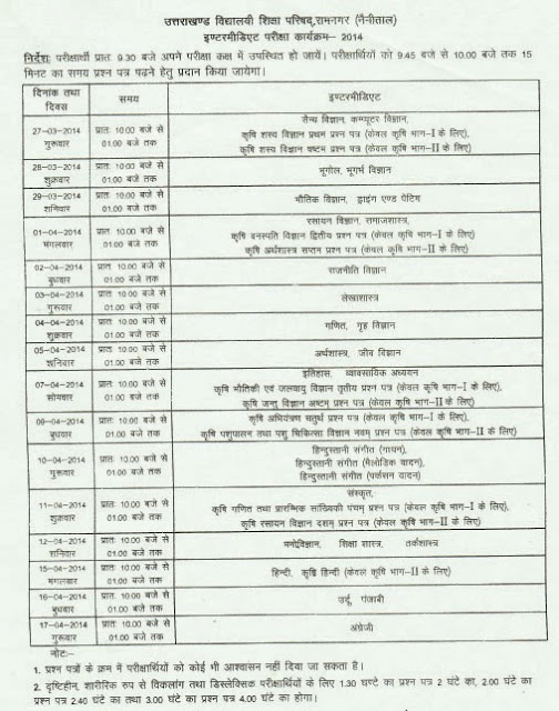 Uttarakhand UBSE Inter/12th Exam Time Table 2014