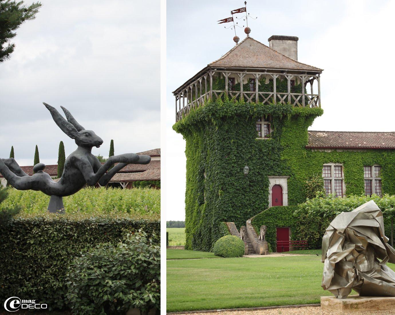 Château Smith Haut Lafitte, Grand cru classé de Bordeaux et lièvre en bronze du sculpteur Barry Flanagan