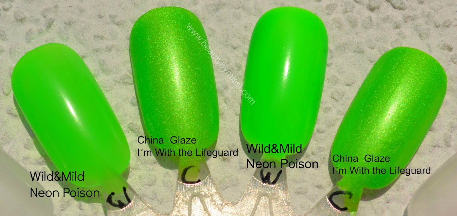 wild&mild neon  poison, China Glaze I´m with the Lifeguard