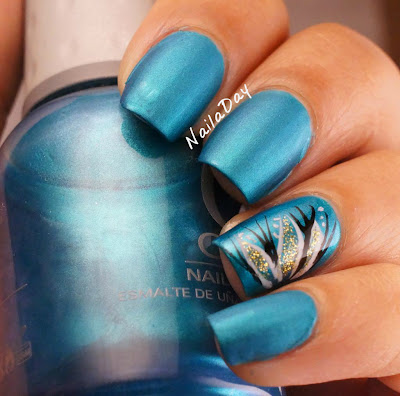 NailaDay: Orly Its Up to Blue mattified with flower accent