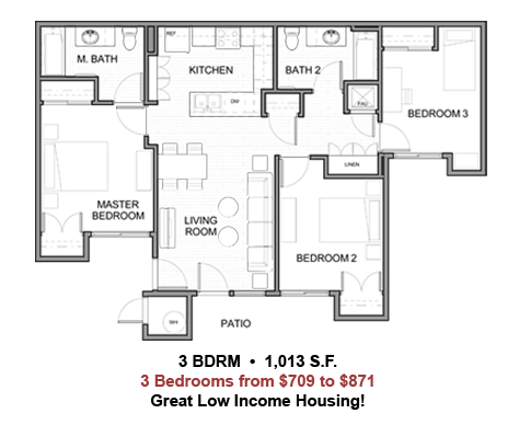 Our third floor plan at our low income apartments located in La Quinta CA. Coral Mountain Apartments La Quinta  August 2014