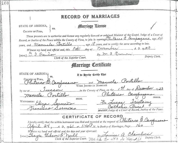 Frequent Traveler Ancestry: Marriage Certificate for Plutarco and ...