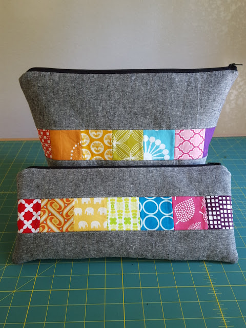rainbow patchwork knitting bags