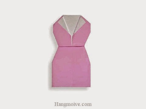Cách gấp, xếp váy bó thân bằng giấy origami - Video hướng dẫn xếp hình quần áo - How to fold a One Piece Dress